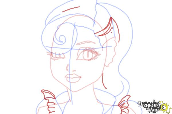 How to Draw Lagoonafire  from Monster High Freaky Fusion - Step 8