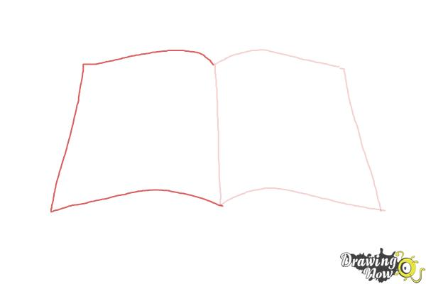 How to Draw an Open Book - Step 2