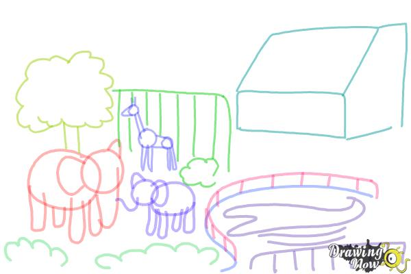 how to draw a zoo step by step