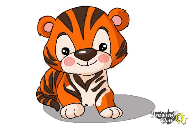 How to Draw a Cute Tiger - Step 10