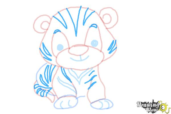 How to Draw a Cute Tiger - Step 8