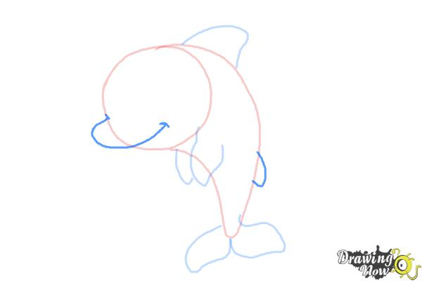 How to Draw a Cute Dolphin - Step 5