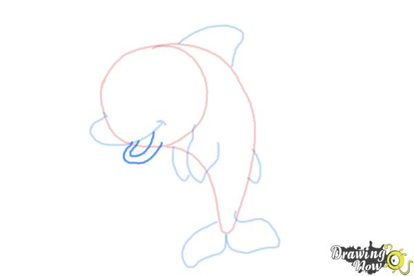 How to Draw a Cute Dolphin - Step 6