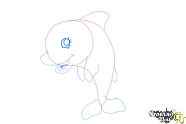 How to Draw a Cute Dolphin - Step 7