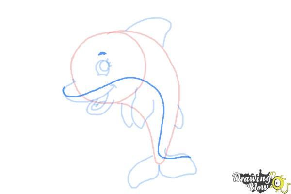 How to Draw a Cute Dolphin - Step 8