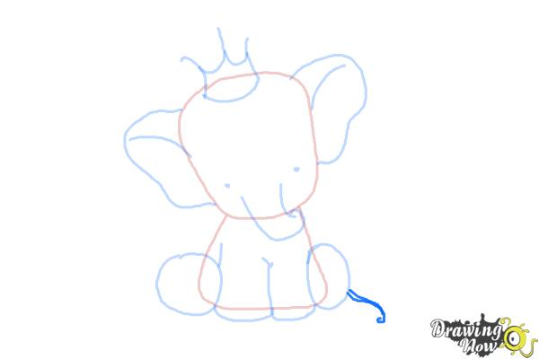 How to Draw a Cute Elephant - Step 8