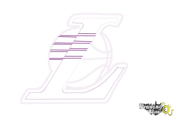 How to Draw Lakers Logo - Step 7