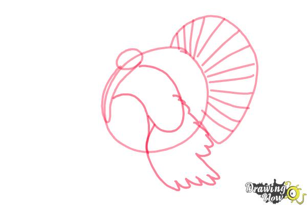 How to Draw a Turkey Step by Step - Step 3