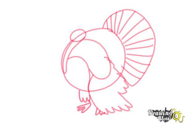 How to Draw a Turkey Step by Step - Step 4