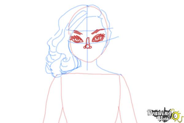 How to Draw Dracubecca from Monster High Freaky Fusion - Step 6