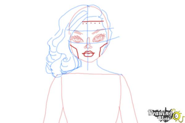 How to Draw Dracubecca from Monster High Freaky Fusion - Step 7