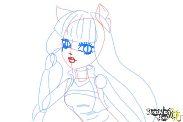How to Draw Cleolei from Monster High Freaky Fusion - Step 8