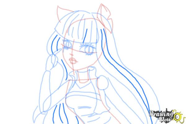 How to Draw Cleolei from Monster High Freaky Fusion - Step 9