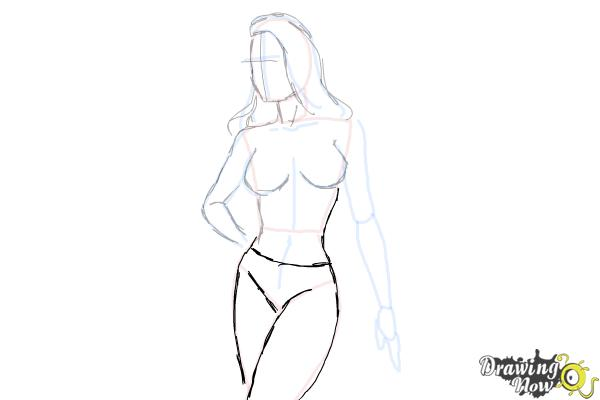 How to Draw a Woman Body - Step 15
