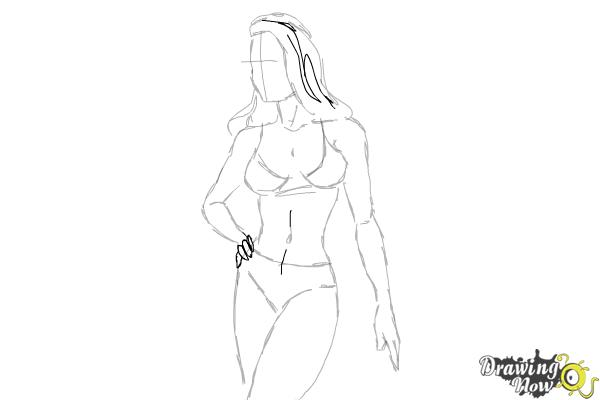 How to Draw a Woman Body - Step 18