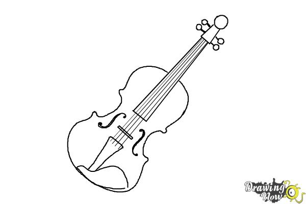 How To Draw A Violin Step By Step Drawingnow
