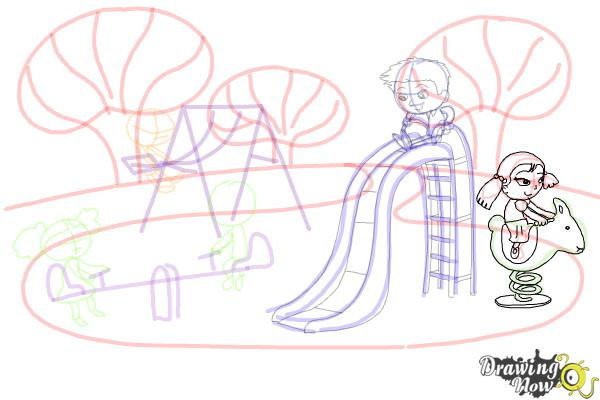How to Draw Kids Playing In a Playground - Step 10