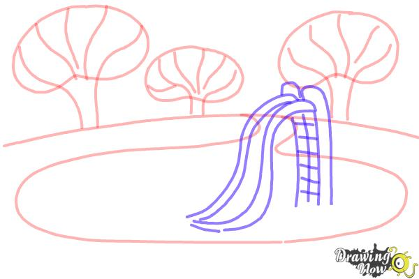 How to Draw Kids Playing In a Playground - Step 3