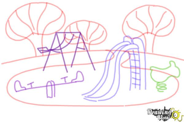 How To Draw Kids Playing In A Playground Drawingnow