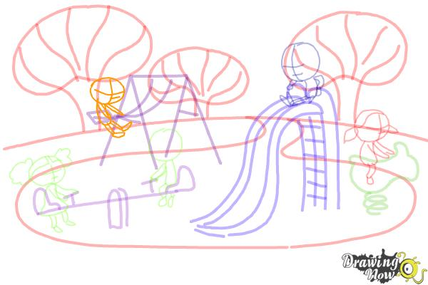 How to Draw Kids Playing In a Playground - Step 8