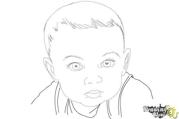 How to draw a baby face step 10