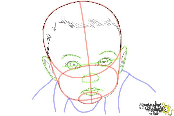 How to draw a baby face step 9