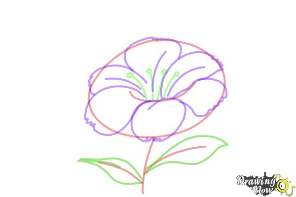 how to draw leaves on a flower