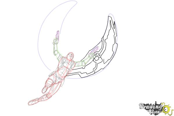 How to Draw Falcon from Captain America: The Winter Soldier - Step 14