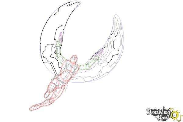 How to Draw Falcon from Captain America: The Winter Soldier - Step 15