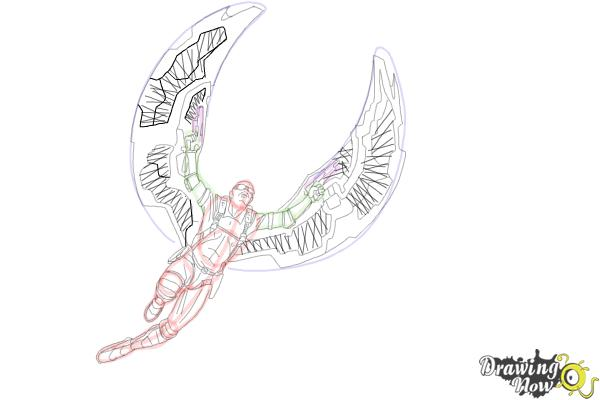 How to Draw Falcon from Captain America: The Winter Soldier - Step 16