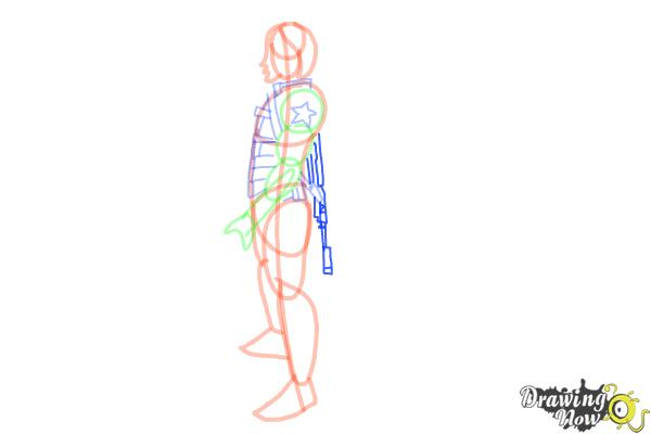 How to Draw Winter Soldier, Bucky from Captain America: The Winter Soldier - Step 10