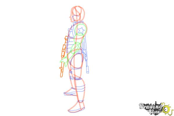 How to Draw Winter Soldier, Bucky from Captain America: The Winter Soldier - Step 13