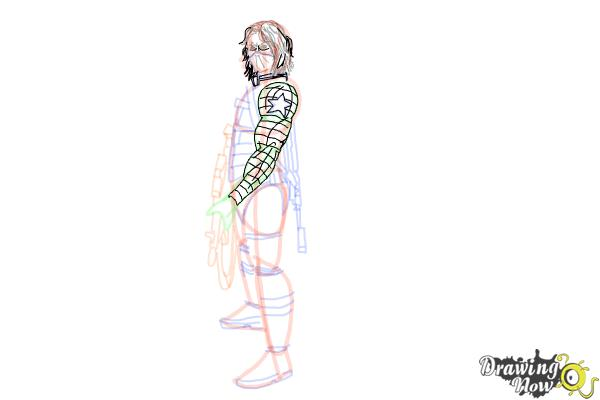 How to Draw Winter Soldier, Bucky from Captain America: The Winter Soldier - Step 16