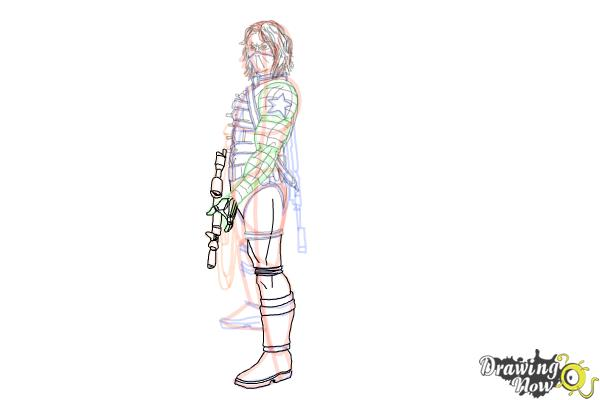 How to Draw Winter Soldier, Bucky from Captain America: The Winter Soldier - Step 18