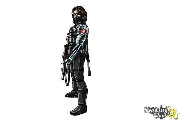 How to Draw Winter Soldier, Bucky from Captain America: The Winter Soldier - Step 20