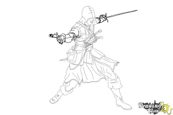How to Draw Edward Kenway from Assassins Creed IV Black Flag - Step 10