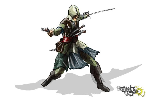 How to Draw Edward Kenway from Assassins Creed IV Black Flag - Step 11
