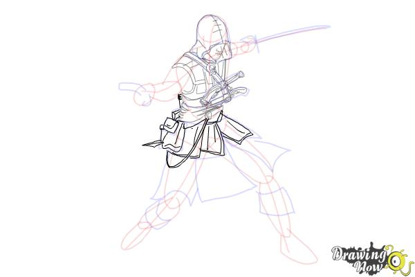 How to Draw Edward Kenway from Assassins Creed IV Black Flag - Step 8