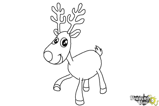 How to Draw a Reindeer For Kids - Step 10