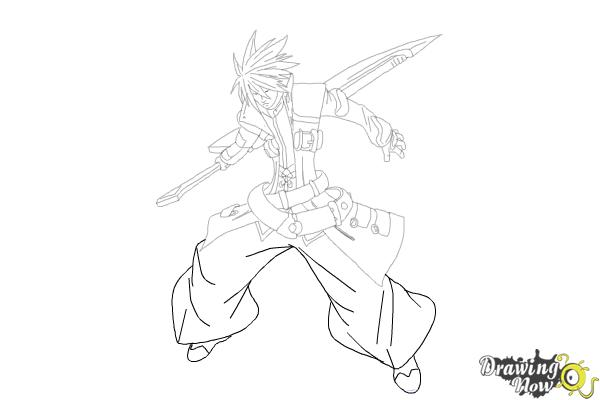 How to Draw Ragna The Bloodedge from Blazblue - Step 14