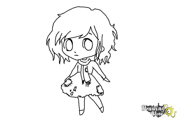How to Draw a Chibi Orphan Girl - Step 7