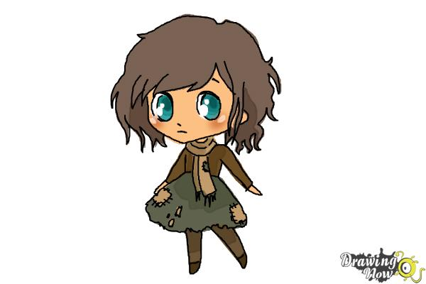 How to Draw a Chibi Orphan Girl - Step 8