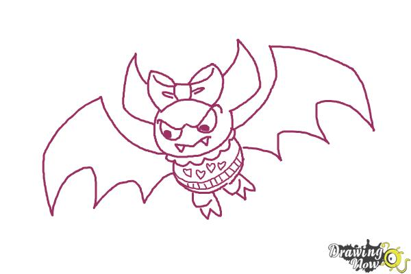 How to Draw Draculaura Pet, Count  Fabulous - Step 9
