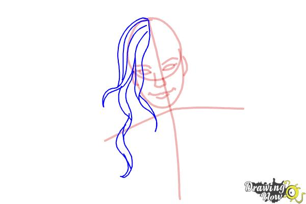 How to Draw a Girl With Long Hair And Highlights - Step 4