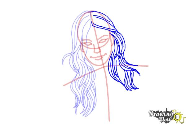 How to Draw a Girl With Long Hair And Highlights - Step 6
