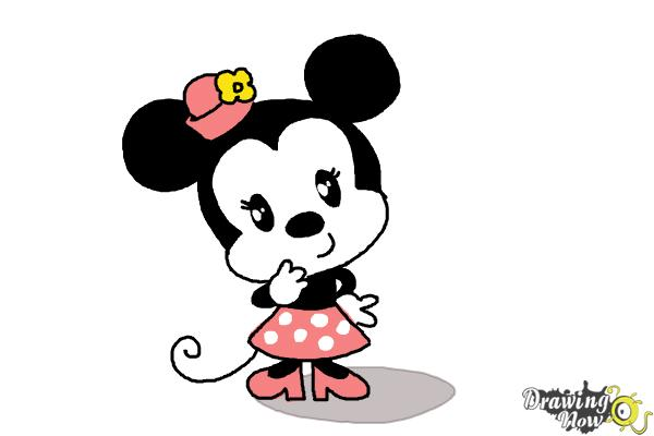 How to Draw Chibi Minnie Mouse - Step 11