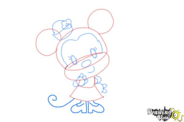 How to Draw Chibi Minnie Mouse - Step 9