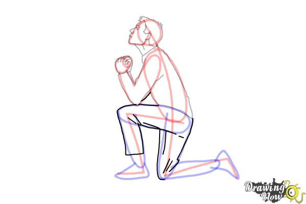 How to Draw a Person On Their Knees, Kneeling - Step 10