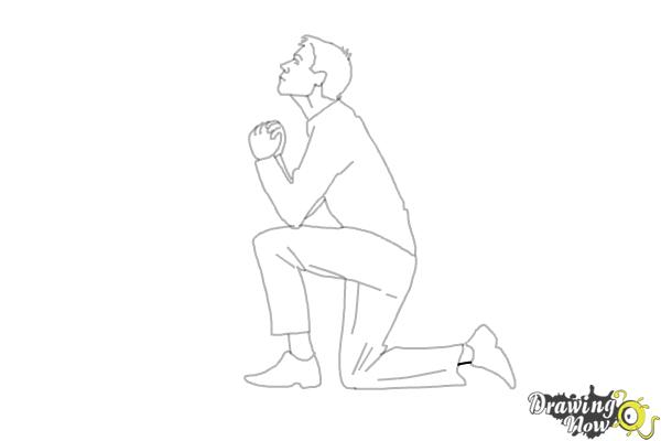 How to Draw a Person On Their Knees, Kneeling - Step 12