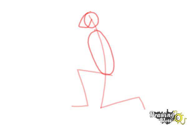 How to Draw a Person On Their Knees, Kneeling - Step 2